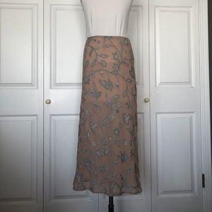 DKNY Long Floral  Design Chiffon Skirt NWOT